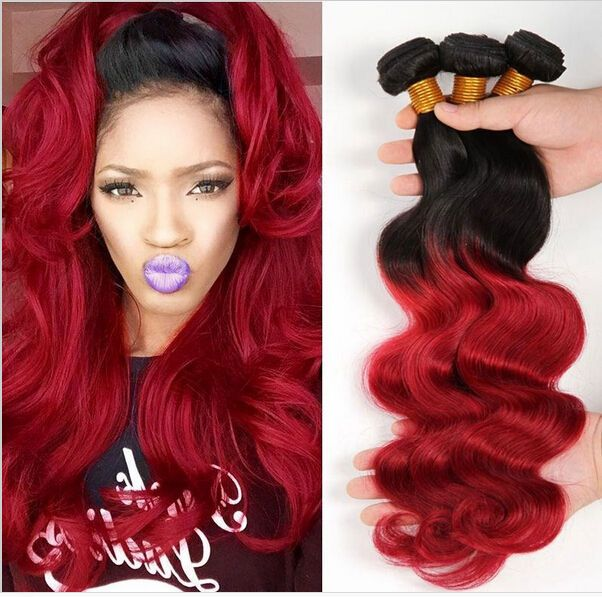 Body Wave T1bred Ombre Hair 1 Bundle Brazilian Hair Extension Human