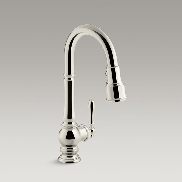 This Artifacts kitchen sink faucet displays vintage style with its ...