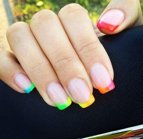 Rainbow French Tips Nails In 2019 Rainbow Nail Art