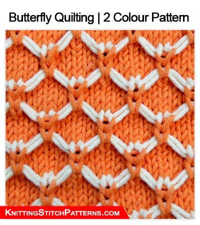 Knitting Stitch Patterns Butterfly Quilting 2 Colour Pattern