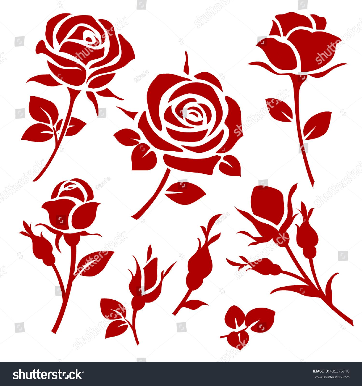 Vector Rose Icon Spring Decorative Rose And Bud Silhouettes Sponsored Sponsored Icon Rose Vector Spring Rose Icon Rose Stencil Rose Illustration