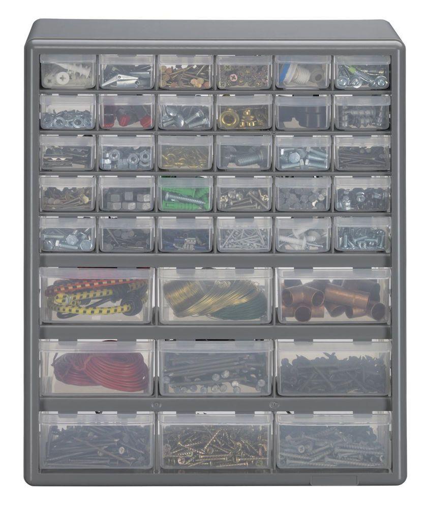 39 Drawer Storage Organizer Bin Box Cabinet Craft Garage Container Plastic Parts Organizing Bins Craft Organization Tool Box Cabinet
