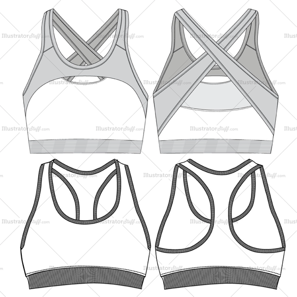 8c7d7216a0 Women s sports bra fashion flat vector template in two different styles.  This file includes the front and back views. Its easy to edit and use.