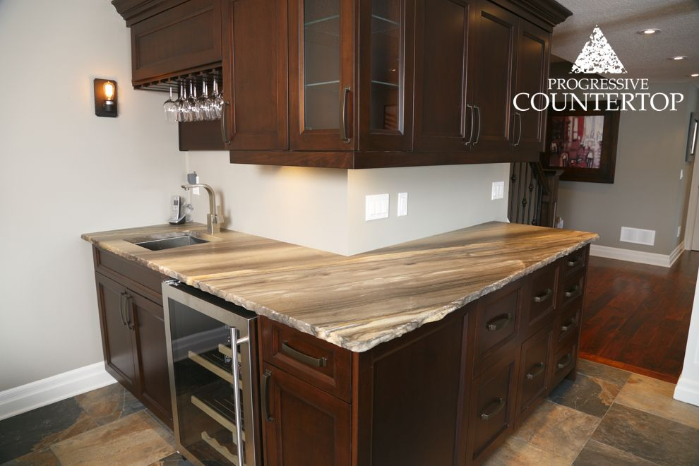 Sequoia Brown Leather Granite Bar With A Chiseled Edge   Progressive  Countertop, London Ontario   Progressive Countertop