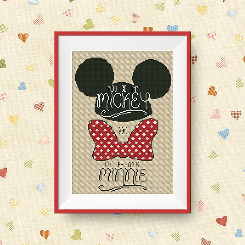 BUY 2 GET 1 FREE You be my Mickey cross stitch von NataliNeedlework
