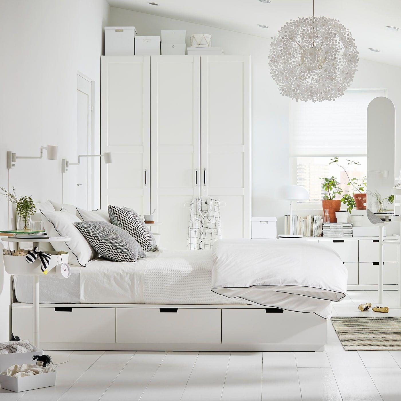 Ikea Nordli Bed Frame With Storage White Lit Rangement Cadre De Lit Et Lit Avec Rangement Integre