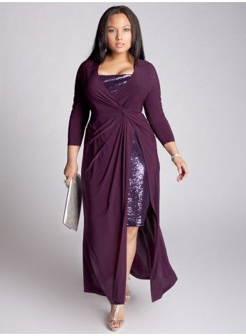 Curvy ladies take note! THIS is how to do a maxi-length skirt: with a twist at the waist and a peekaboo slit that shows off your legs. Well worth the $235 if you need a show-stopping gown, from igigi.
