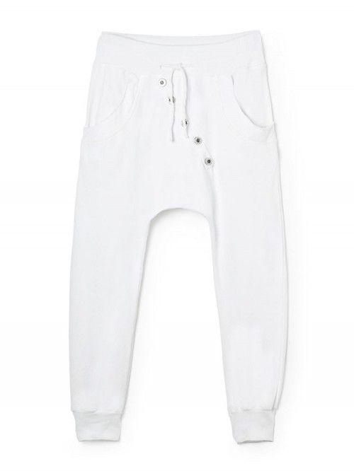Pantalon de jogging pour femme en coton blanc coupe sarouel avec bouton  survêtement chic made in 3def18d517f