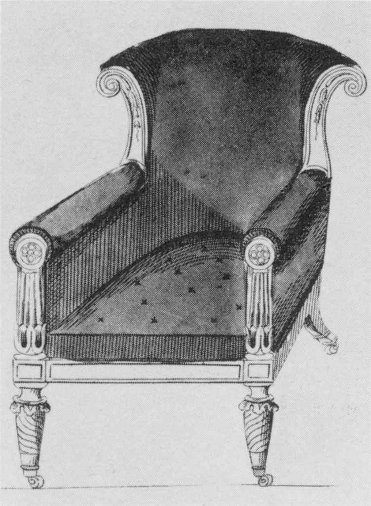 A GEORGE IV MAHOGANY LARGE LIBRARY ARMCHAIR AFTER A DESIGN BY JOHN TAYLOR, CIRCA 1825 The padded back, arms and seat upholstered in tan leather, the scrolled toprail with acanthus and flowerhead-carved supports, the padded arms with tapering foliate and flowerhead-carved posts and with a panelled and reeded front rail above reeded legs with brass caps and castors