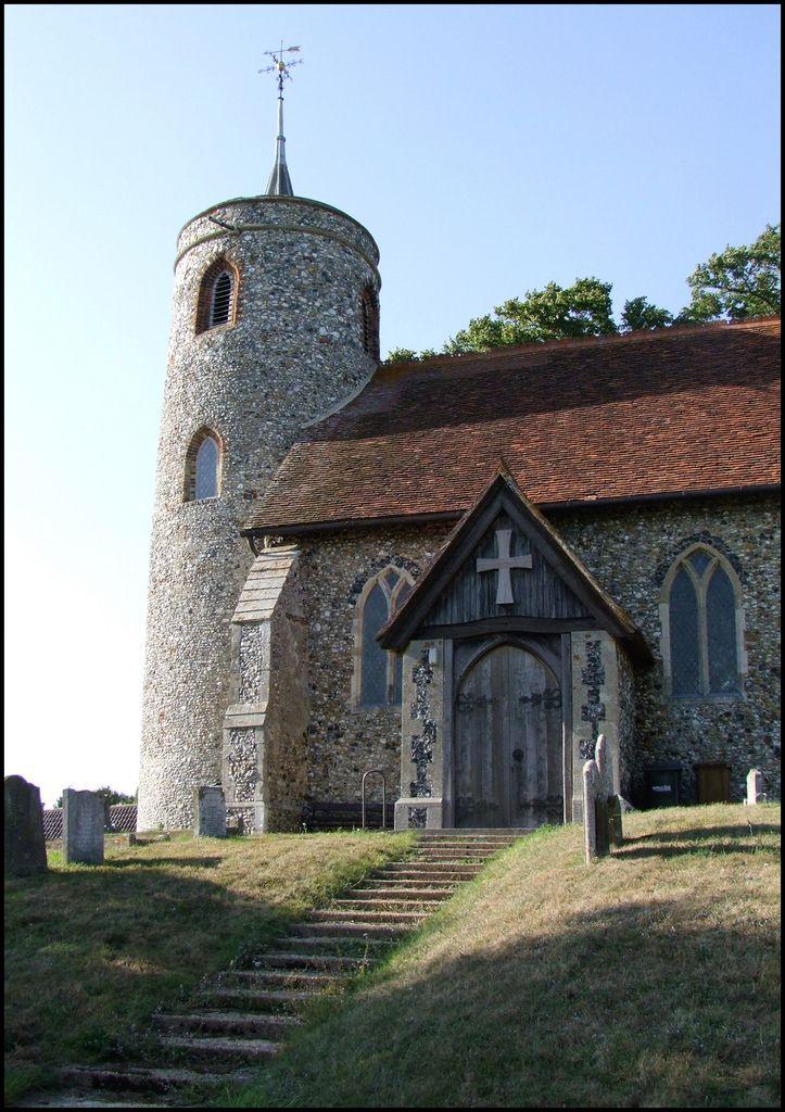 St. Mary's Aldham, Suffolk. Saxon round-tower church North door.