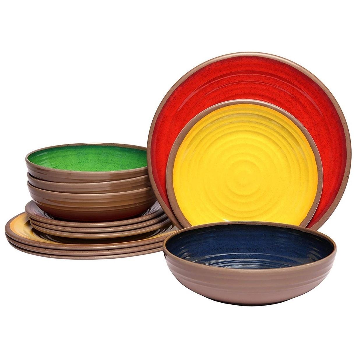 Melange 36 Piece 100 Dinnerware Set Clay Collection Color Multicolor Dinner Plate Salad Plate Soup Bowl 12 Each Melamine Dinnerware Sets Melamine Dinnerware Dinnerware Sets