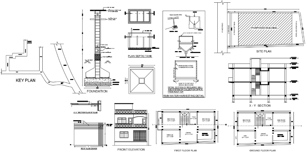 Bhk Drawing House Key Plan Project 2 Storey Residence House Ground Floor Plan And First Floor Plan That Sho 2bhk House Plan Ground Floor Plan How To Plan