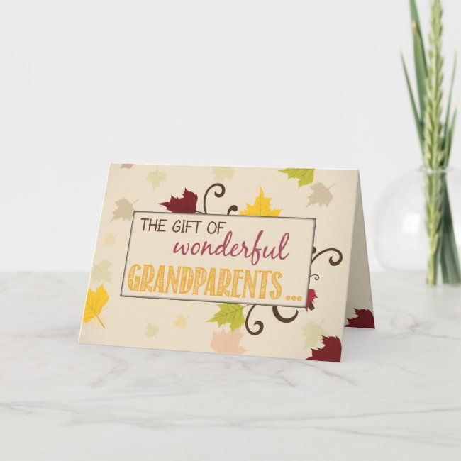 Thanksgiving Gift of Grandparents Fall Leaves Holiday Card | Zazzle.com