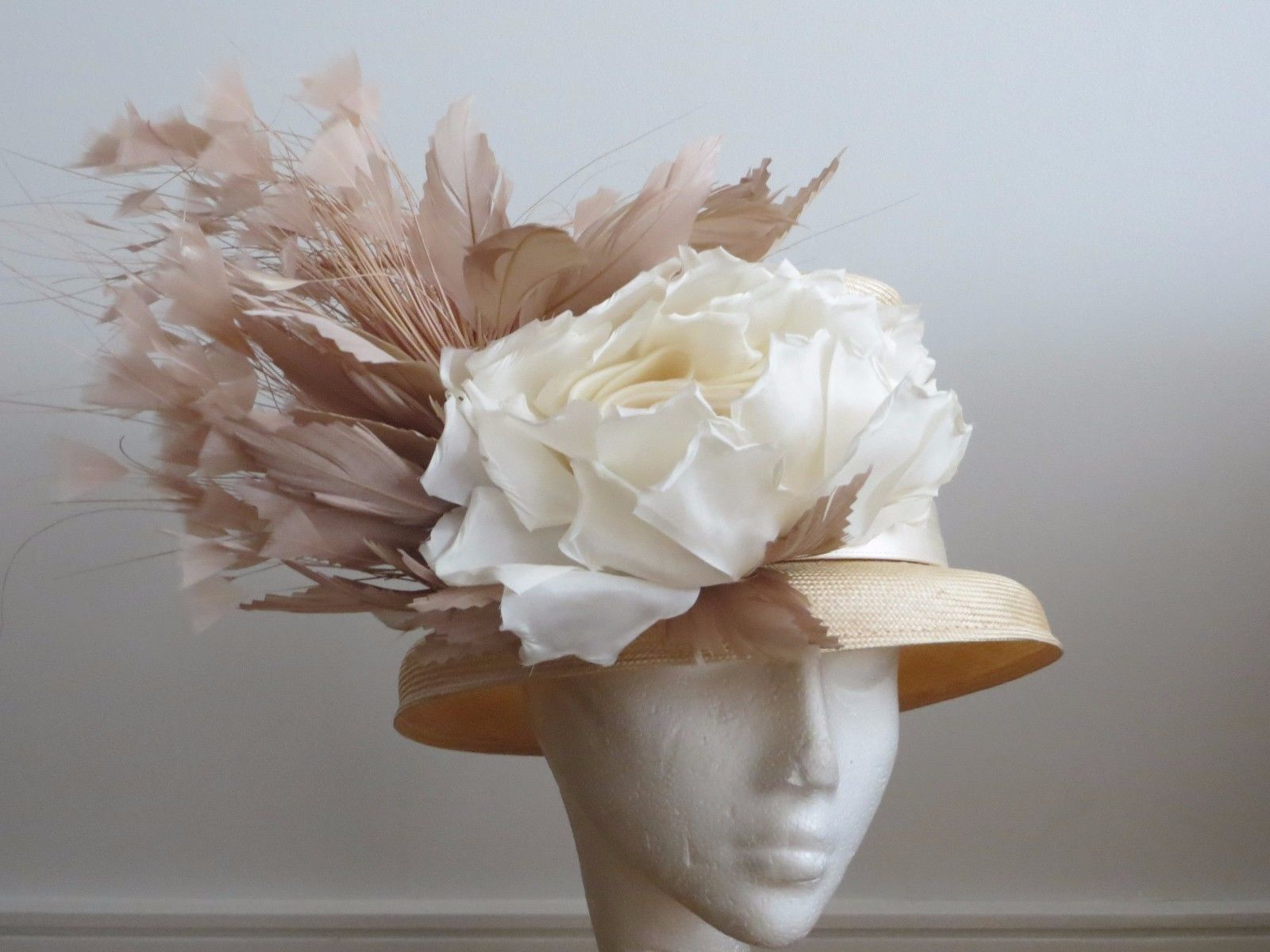 Stunning Floral Feathered Brimmed Straw Hat by Philip Treacy from Harrods.  Amazing hat and will 2c2bbead7759