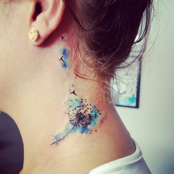dandelion neck tattoo #ink #youqueen #girly #tattoos # ...