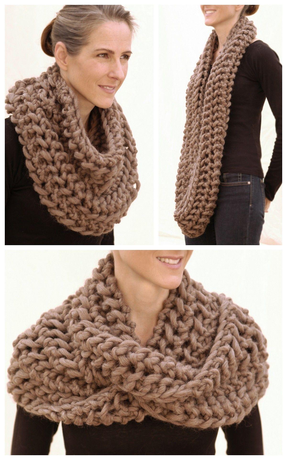 Diy Chunky Knit Infinity Scarf Pattern From Knit 1 La