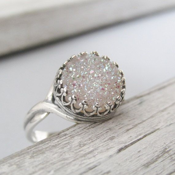 Beautiful Oval Golden Druzy and Crystal Sterling Silver Ring