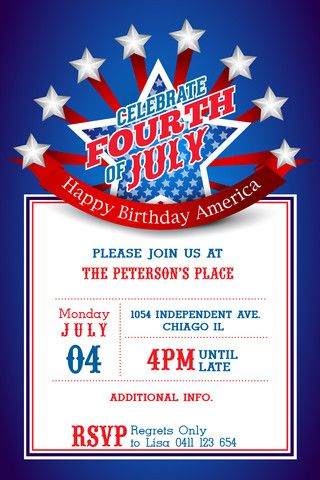 4th Of July Printable Invitation Template 4th July Usa Printable Invitation Templates Printable Invitations Invitation Template