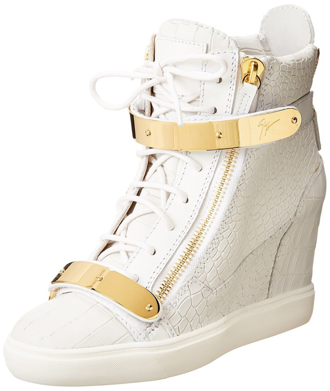 0ad42b566a2 Giuseppe Zanotti Women s Embossed Wedge Fashion Sneaker