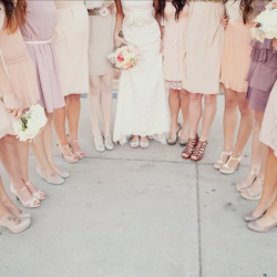 Blush Bridesmaid Dresses and Shoes