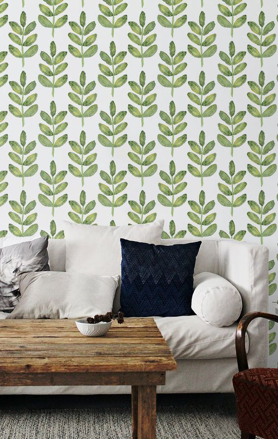 Walnut Leaves Patterned Temporary Wallpaper Green Leaf Ers L