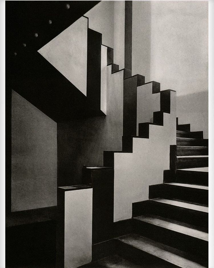 Staircase inside the Aubette café in Strasbourg, designed by Theo van Doesburg, Hans Arp, and Sophie Täuber-Arp (1926-1928).
