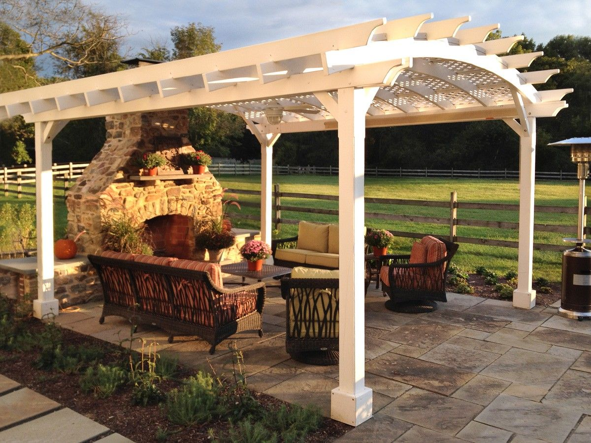 White Pergola, arched roof with lattice panels, 18ft. by 16ft., 15 - White Pergola, Arched Roof With Lattice Panels, 18ft. By 16ft., 15