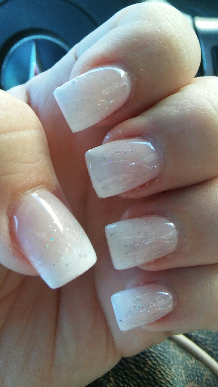 Short And Square Glitter Ombre White Tips Natural Looking Finally No Tips Natural Na Ombre Nails Glitter Short Square Acrylic Nails White Glitter Nails