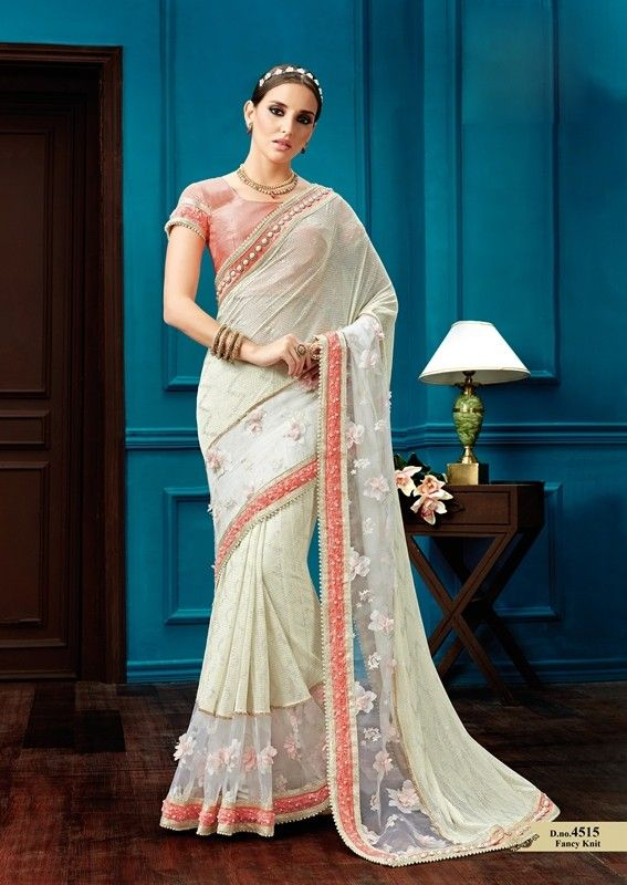 f8d00ad5f6 Buy Apparels- Off White Colour Fancy Knit 3D Flowers and Pearl Work Party  Wear Saree