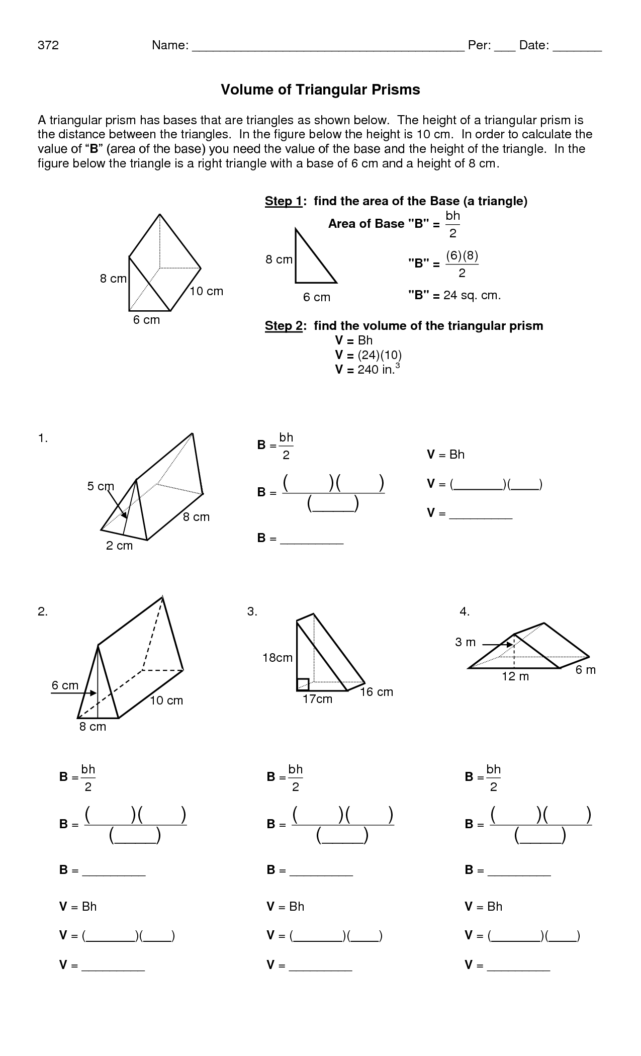 Volume And Surface Area Of Prism Worksheets