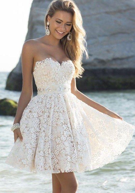 fa8fcfebb48a White Plain Bandeau V-neck Draped Lace Mini Dress