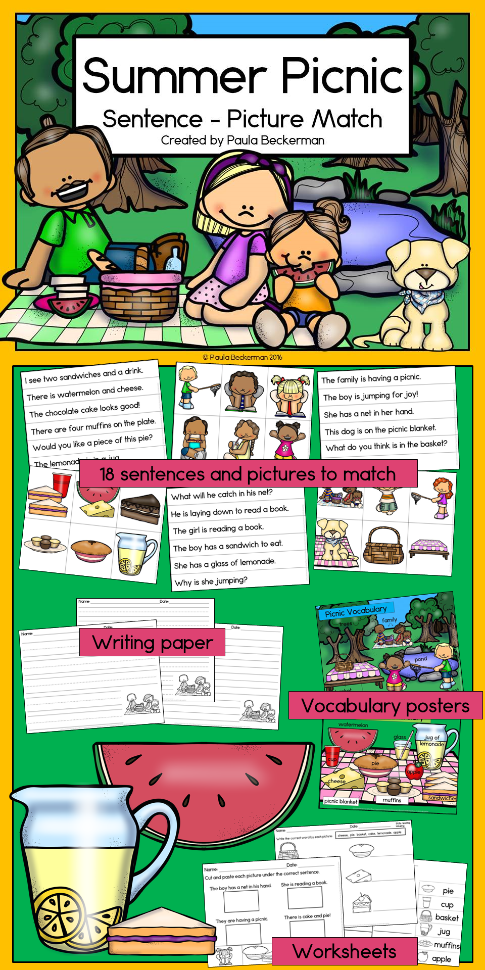 A Fun Way To Bring Learning To Your Summer Picnics Kids Love Learning With Food Kindergarten Reading Activities Kindergarten Writing Paper Picnic Activities [ 1920 x 960 Pixel ]