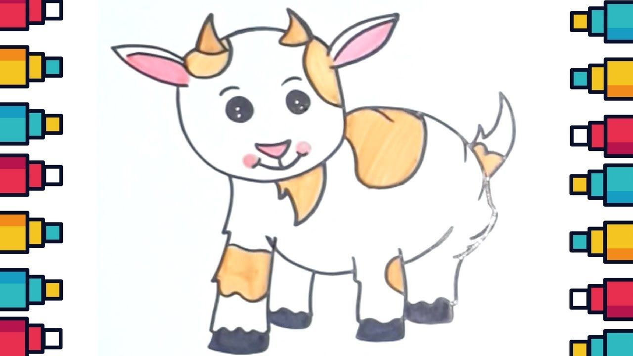 How To Draw A Baby Goat Step By Step For Kids Goat Cuteanimals Cute Baby Drawing Youtube Draw Cute Baby Animals Cute Goats Baby Goats