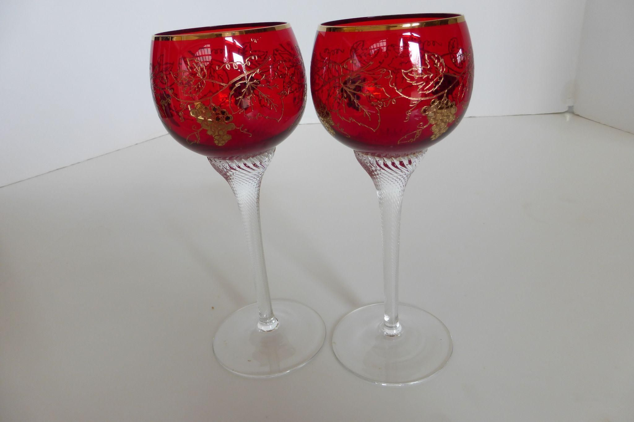 Vintage Bohemian Moser Crystal Czech Moser Ruby Red Wine Goblets Etched Gilded Twisted Stems Pair Vintage Bohemian Wine Goblets Stemmed Glass