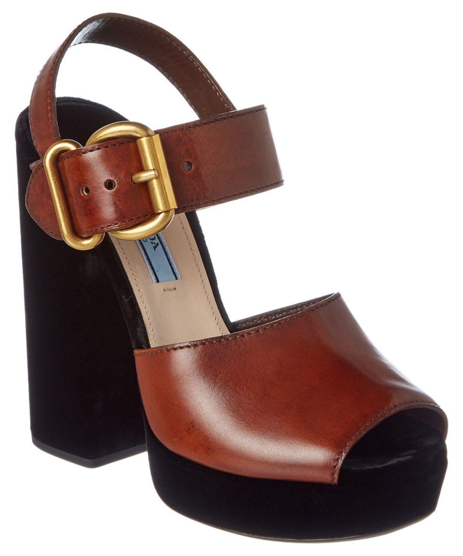 4ace6662257 PRADA PRADA LEATHER  AMP  VELVET PLATFORM SANDAL .  prada  shoes  sandals