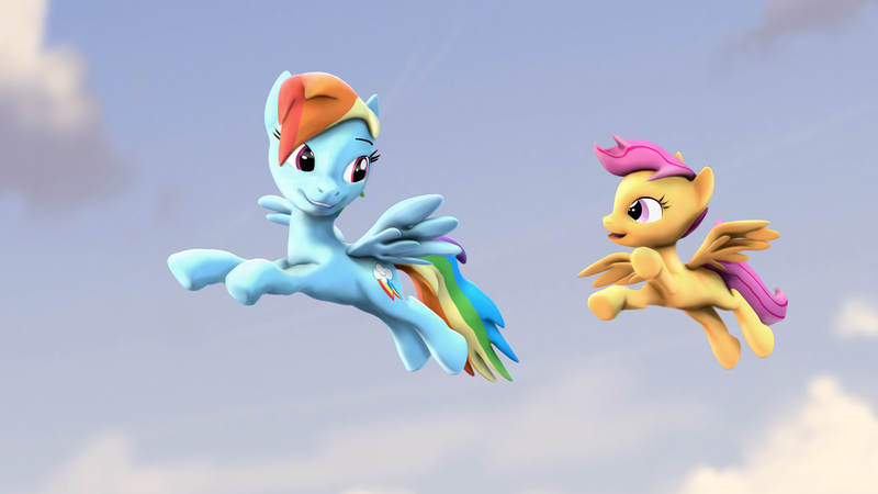 1451033 3d Artist Litterpaws Flying Pegasus Rainbow Dash Safe Scootaloo Scootaloo Can Fly Scootalove Smiling So Rainbow Dash Pony Filmmaking Ideas Even though scootaloo can't fly, her hovering continues to impress me. 1451033 3d artist litterpaws flying