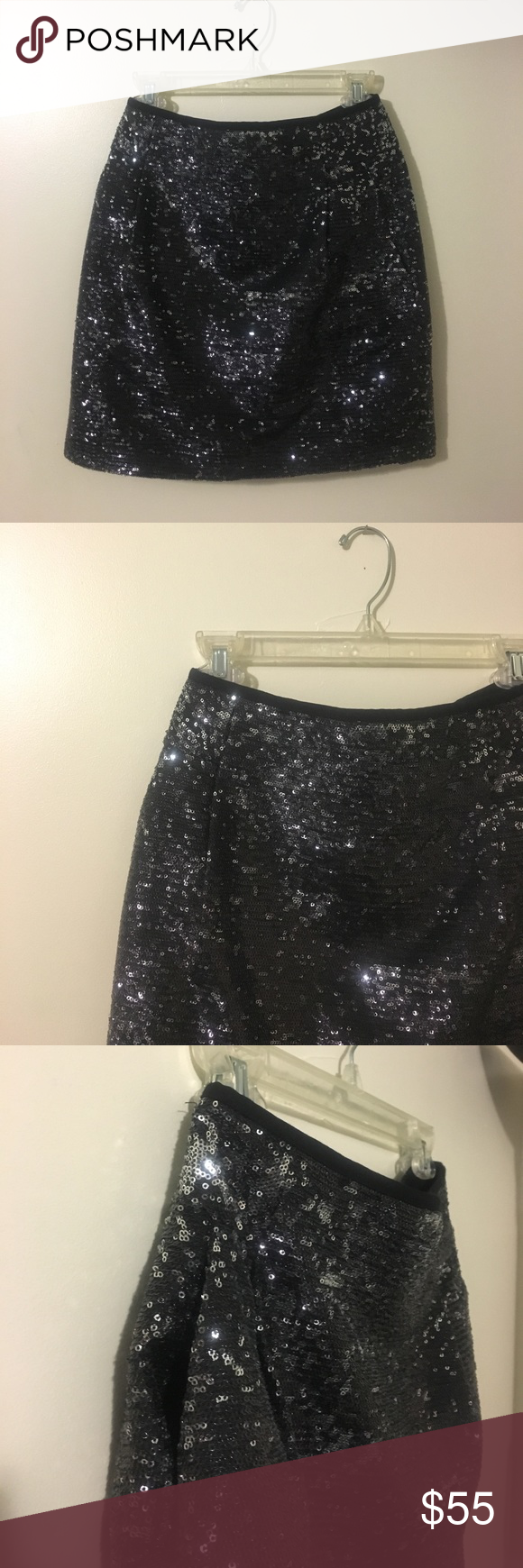 J. CREW Sequin Mini Skirt This mini skirt is black with shiny silver sequins. It also has functioning pockets on the side which are great for cell-phone and/or makeup when going out! J. Crew Skirts Mini