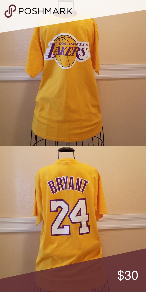 LAKERS KOBE BRYANT 24 TEE Mens lakers large kobe bryant 24 tshirt Lakers  Shirts Tees - Short Sleeve 03e0ea184