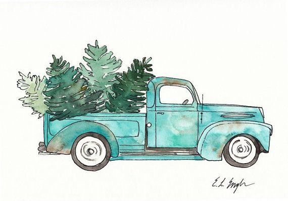 Vintage Truck And Christmas Trees Original Watercolor Painting 9x12 Blue Teal Christmas ...