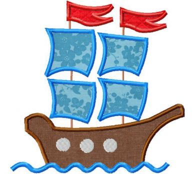 Pirate Ship Embroidery includes both Applique and Stitched in Tons of Sizes for all Hoops Includes PDF instructions and all of the following sizes: Applique 3 sizes to fit 4X4, 5X7 and 6X10 Hoops S…