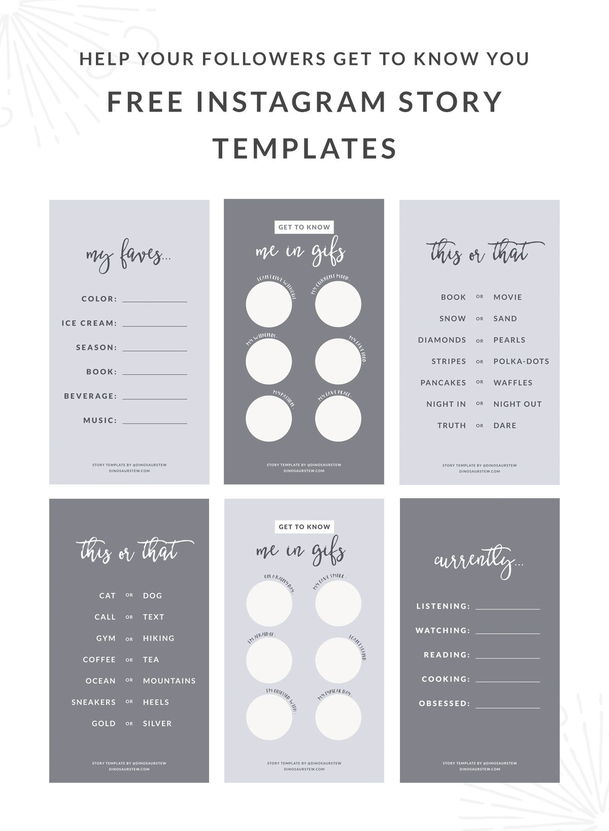 Free Instagram Story Templates To Help Your Followers Get To Know ...