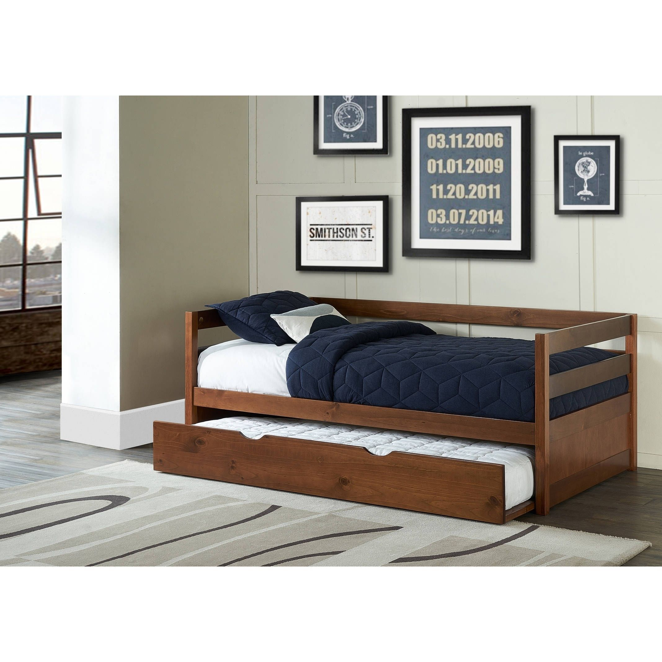 Ne Kids Hillsdale Caspian Daybed With Trundle, Walnut (Daybed), Tan,