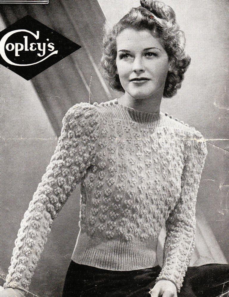 Vintage 1940s Knitting Pattern Ladies Bunch Of Grapes Jumper Free Uk