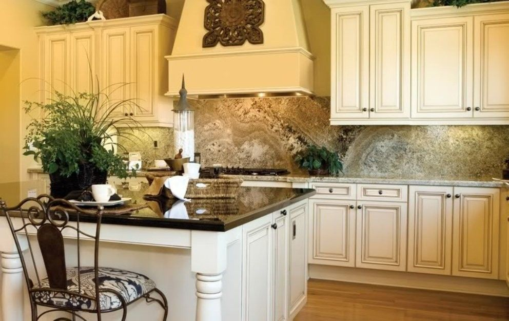 Image of Cream Kitchen Cabinets With Glaze Kitchen Pinterest