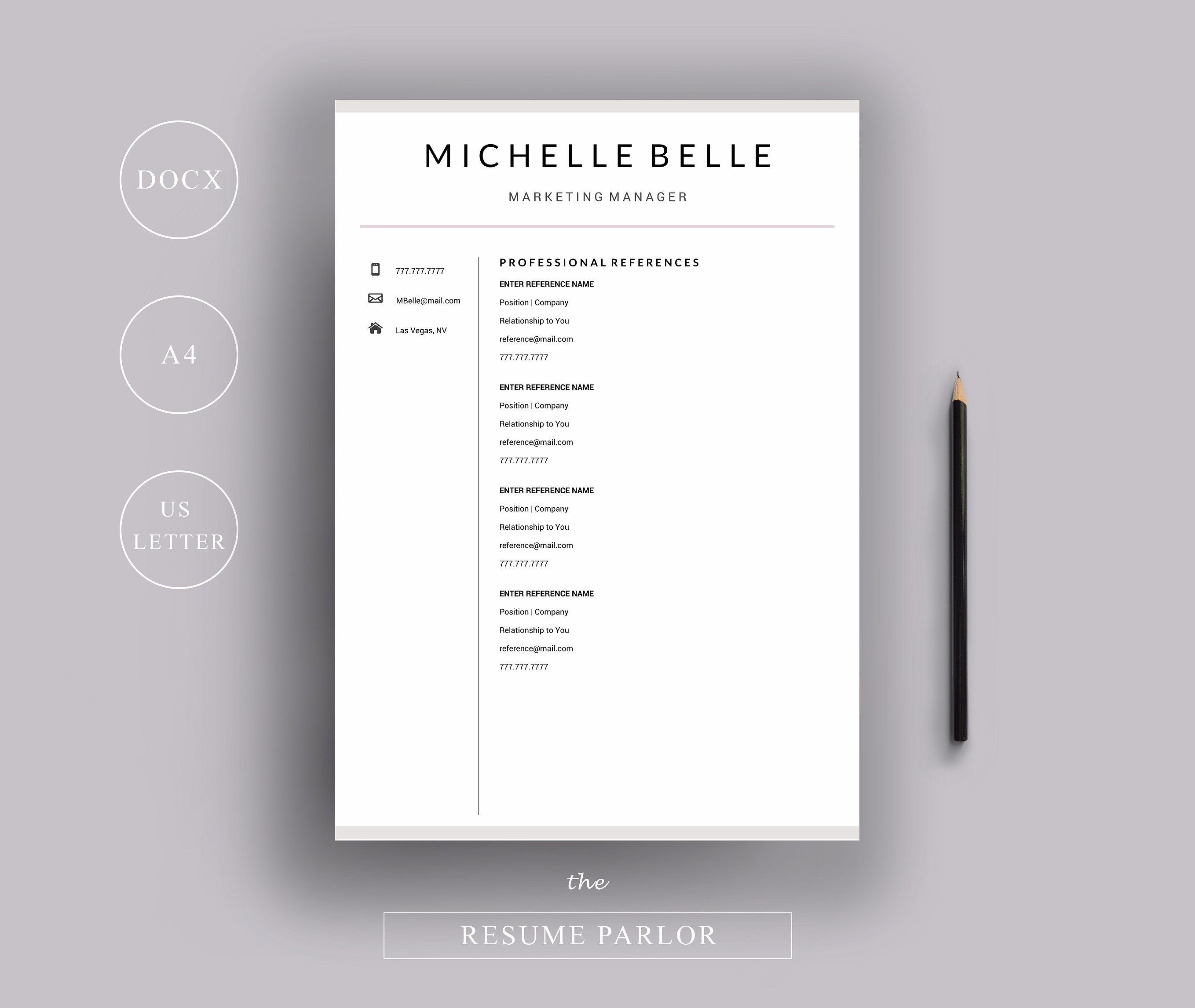 Resume 4 Page A4 Us Letter Sizes References Page Cover