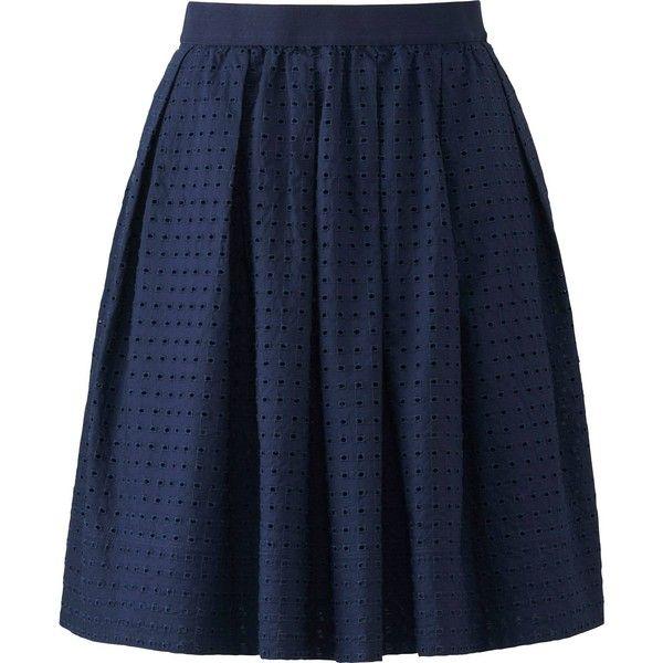 1cbd69ff6 UNIQLO Women Eyelet Mini Skirt ($40) ❤ liked on Polyvore featuring skirts,  mini skirts, uniqlo, blue mini skirt, eyelet skirt, embroidered mini skirt  and ...