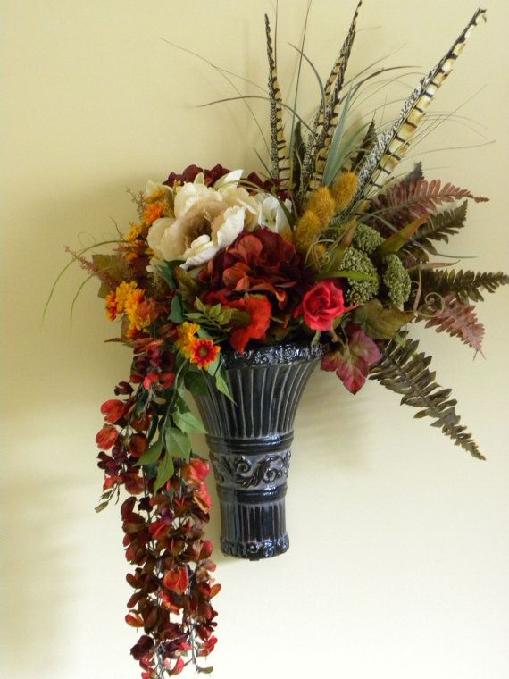 Autumn Flower Arrangement Wall Decor Fall Flowers by ... on Hanging Wall Sconces For Flowers id=34230