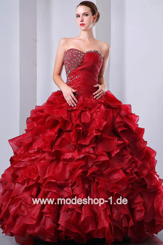 Dunkel Rotes Abendkleid Ballkleid Weinrot von www.modeshop-16.de
