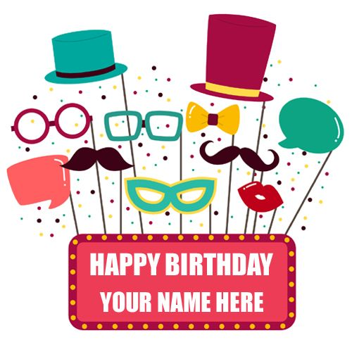 Happy Birthday Wishes Funny Props Greeting With NameName Card MakerFunny Bday NamePersonalized HBD NameOnline Name Printing