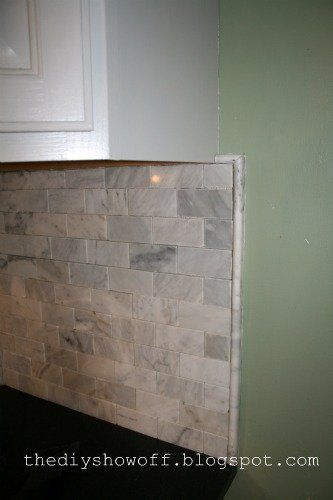 Finished edge of marble subway tile DIY Show Off Kitchen Makeover